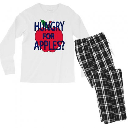 Hungry For Apples Black Men's Long Sleeve Pajama Set Designed By Fashionartis69