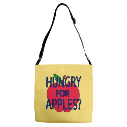 Hungry For Apples Black Adjustable Strap Totes Designed By Fashionartis69