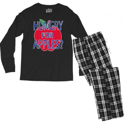 Hungry For Apples White Men's Long Sleeve Pajama Set Designed By Fashionartis69