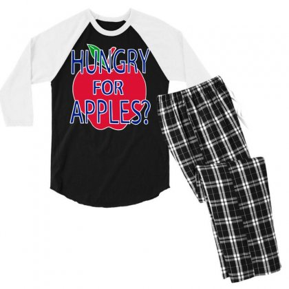 Hungry For Apples White Men's 3/4 Sleeve Pajama Set Designed By Fashionartis69