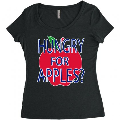 Hungry For Apples White Women's Triblend Scoop T-shirt Designed By Fashionartis69