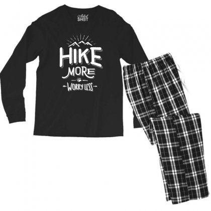 Funny Novelty Hiking T Shirt Hike More Worry Less Mountain Men's Long Sleeve Pajama Set Designed By Cidolopez