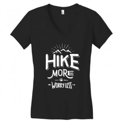 Funny Novelty Hiking T Shirt Hike More Worry Less Mountain Women's V-neck T-shirt Designed By Cidolopez