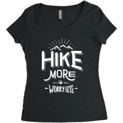 Funny Novelty Hiking T Shirt Hike More Worry Less Mountain Women's Triblend Scoop T-shirt Designed By Cidolopez
