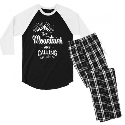 The Mountains Are Calling And I Must Go Men's 3/4 Sleeve Pajama Set Designed By Cidolopez