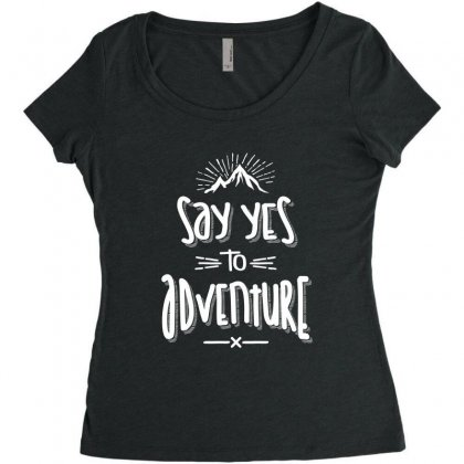Say Yes To Adventure Camping Hiking - Hike Gifts Women's Triblend Scoop T-shirt Designed By Cidolopez