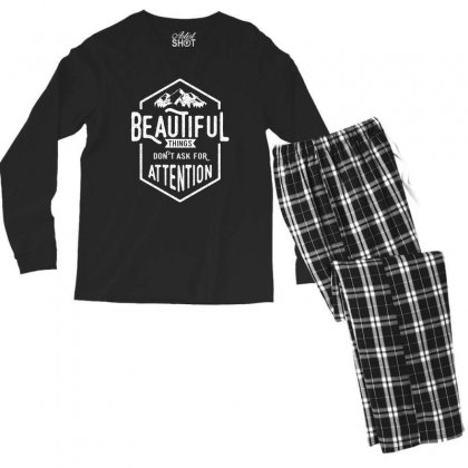 Beautiful Things Don't Ask For Attention Men's Long Sleeve Pajama Set Designed By Cidolopez