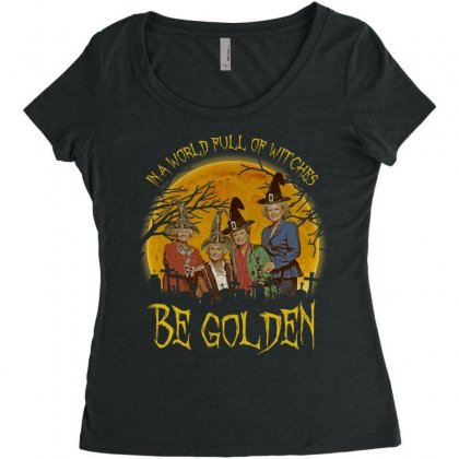 In A World Full Of Witches Be Golden Moon Halloween Women's Triblend Scoop T-shirt Designed By Zindora