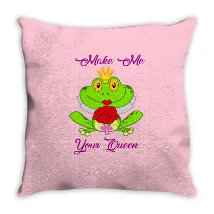 Frog Queen Throw Pillow Designed By Planetshirts