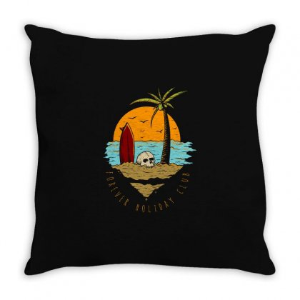 Skull And Surf Board In The Sunset Throw Pillow Designed By Fun Tees