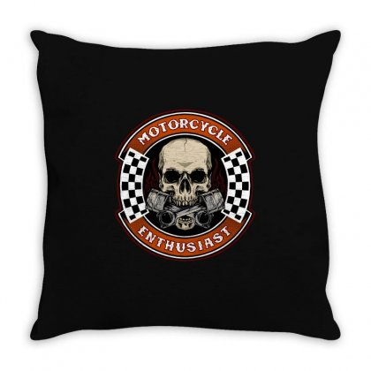 Skull Biker With Piston Suitable Throw Pillow Designed By Fun Tees