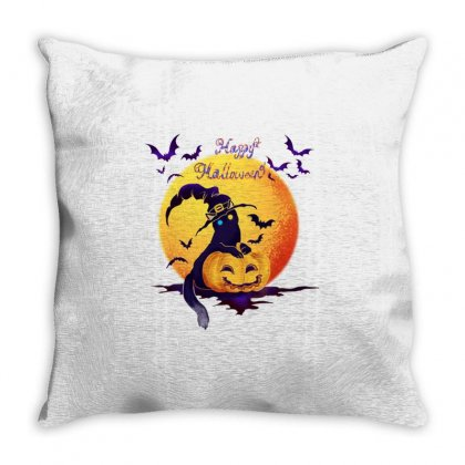 Awesome Halloween  Bat Black Cat Witch Throw Pillow Designed By Fun Tees