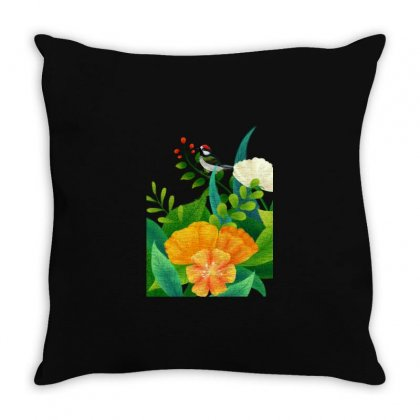 Cute Bird Plant Flowers Illustration Throw Pillow Designed By Fun Tees