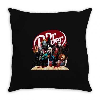 Funny Halloween Horror Characters Drinking Dr Pepper Throw Pillow Designed By Fun Tees