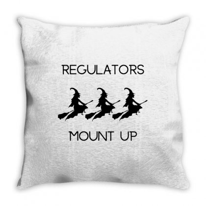 Funny Halloween Witch Regulators Mount Up In Black Throw Pillow Designed By Fun Tees