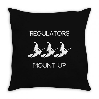 Funny Halloween Witch Regulators Mount Up In White Throw Pillow Designed By Fun Tees