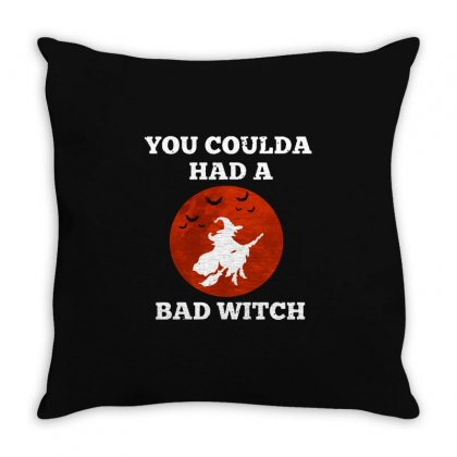 Funny Halloween Witch Shirt You Coulda Had A Bad Witch   White Throw Pillow Designed By Fun Tees