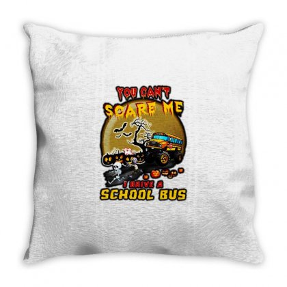 Halloween You Can't Scare Me I Drive A School Bus Throw Pillow Designed By Fun Tees