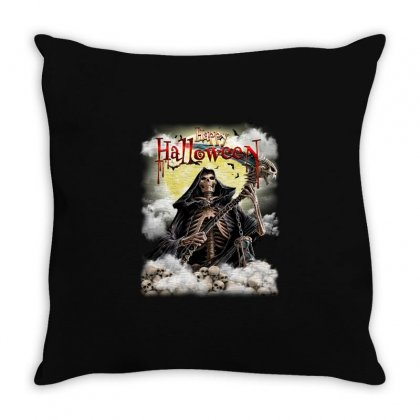 Happy Halloween Skull Throw Pillow Designed By Fun Tees