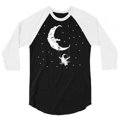 Astronauts Swing On The Moon 3/4 Sleeve Shirt Designed By Bloodline