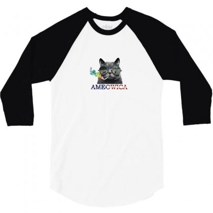 Usa Cat 3/4 Sleeve Shirt Designed By Disgus_thing