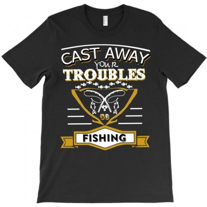 Cat Away Trouble Go Fishing T-shirt Designed By Hung