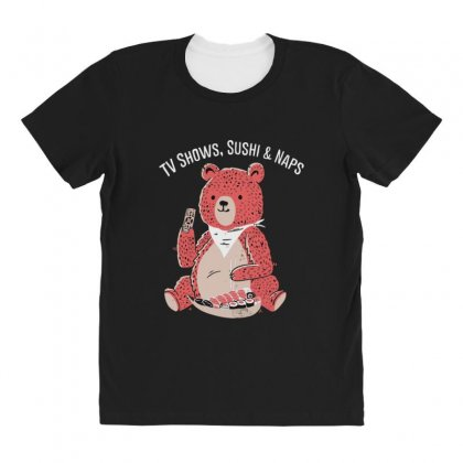 Tv Shows, Sushi & Naps All Over Women's T-shirt Designed By Andr1