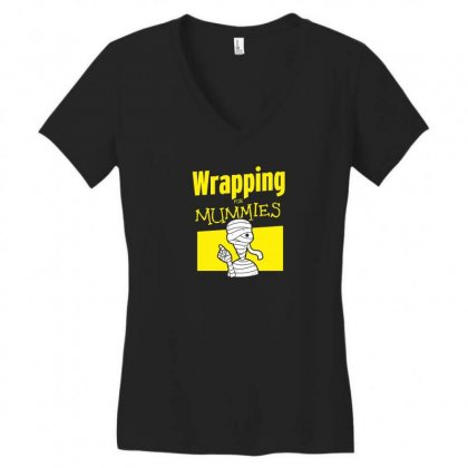 Wrapping For Mummies Women's V-neck T-shirt Designed By Andr1
