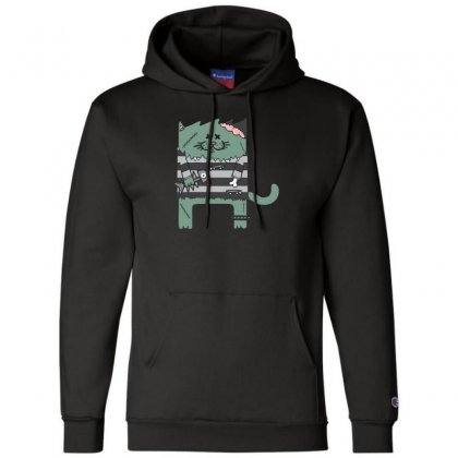 Zombie Cat Champion Hoodie Designed By Andr1