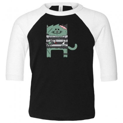 Zombie Cat Toddler 3/4 Sleeve Tee Designed By Andr1