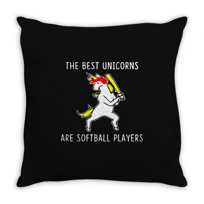 The Best Unicorns Are Softball Player Throw Pillow Designed By Pinkanzee