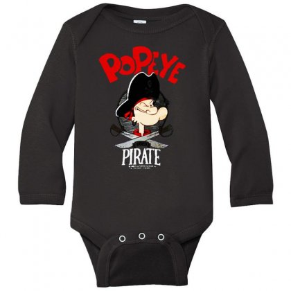 Popeye Goes Pirate Long Sleeve Baby Bodysuit Designed By Pinkanzee