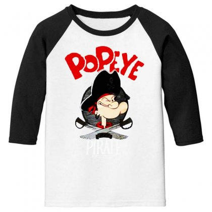 Popeye Goes Pirate Youth 3/4 Sleeve Designed By Pinkanzee