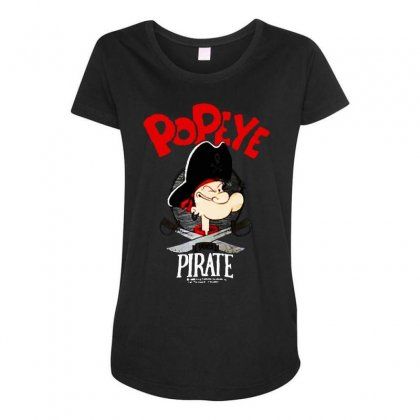 Popeye Goes Pirate Maternity Scoop Neck T-shirt Designed By Pinkanzee