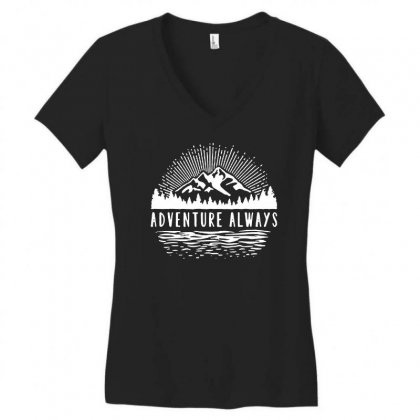 Outdoors Women's V-neck T-shirt Designed By Pinkanzee