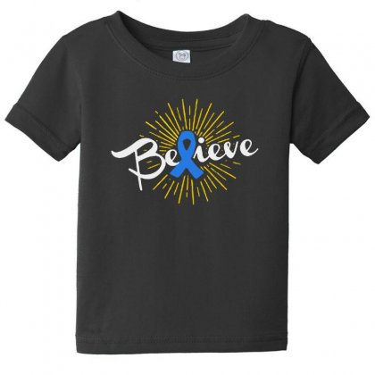 Believe Leukemia Cancer Ribbon Baby Tee Designed By Pinkanzee