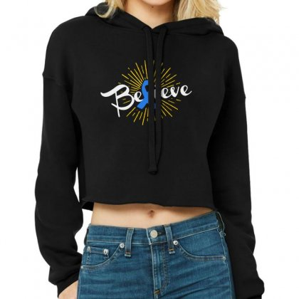 Believe Leukemia Cancer Ribbon Cropped Hoodie Designed By Pinkanzee