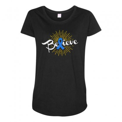 Believe Leukemia Cancer Ribbon Maternity Scoop Neck T-shirt Designed By Pinkanzee