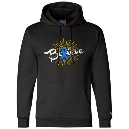 Believe Leukemia Cancer Ribbon Champion Hoodie Designed By Pinkanzee