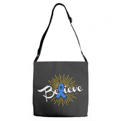 Believe Leukemia Cancer Ribbon Adjustable Strap Totes Designed By Pinkanzee
