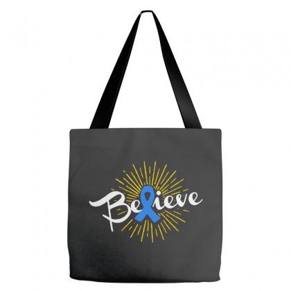 Believe Leukemia Cancer Ribbon Tote Bags Designed By Pinkanzee