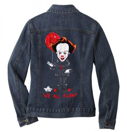 It Pennywise We All Float Ladies Denim Jacket Designed By Pinkanzee