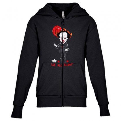 It Pennywise We All Float Youth Zipper Hoodie Designed By Pinkanzee
