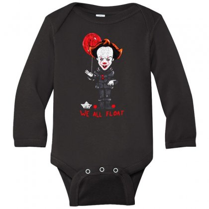 It Pennywise We All Float Long Sleeve Baby Bodysuit Designed By Pinkanzee