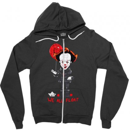 It Pennywise We All Float Zipper Hoodie Designed By Pinkanzee