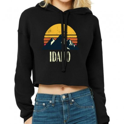 Idaho Retro Vintage Cropped Hoodie Designed By Pinkanzee