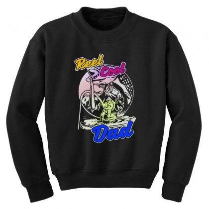 Dad Gift Funny   Reel Cool Dad Youth Sweatshirt Designed By Pinkanzee