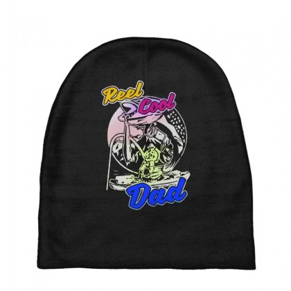 Dad Gift Funny   Reel Cool Dad Baby Beanies Designed By Pinkanzee
