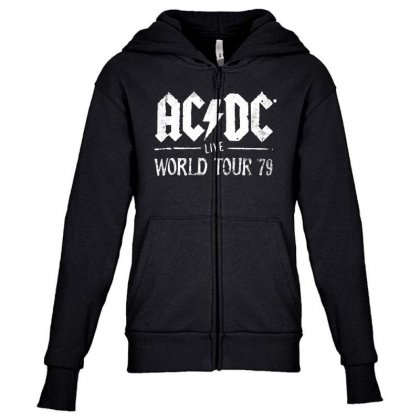 Acdc Live World Tour 79 Youth Zipper Hoodie Designed By Pinkanzee