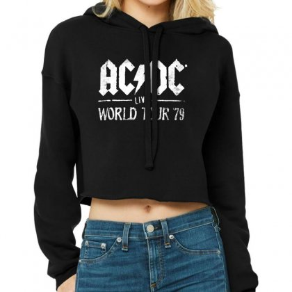 Acdc Live World Tour 79 Cropped Hoodie Designed By Pinkanzee